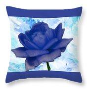 The Blue Rose Throw Pillow