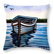 The Blue Wooden Boat Throw Pillow
