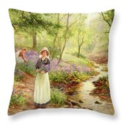 The Bluebell Glade Throw Pillow by Ernest Walbourn