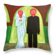 The Blushing Bride And Groom Throw Pillow