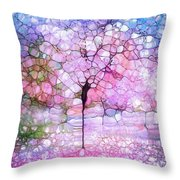 The Blushing Tree In Bloom Throw Pillow