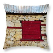 The Boarded Red Window Throw Pillow