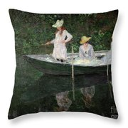 The Boat At Giverny Throw Pillow by Claude Monet