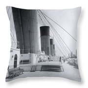 The Boat Deck Of The Titanic Throw Pillow
