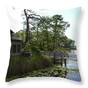 The Boathouse At Watercolor Throw Pillow by Megan Cohen