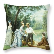 The Boating Party Throw Pillow