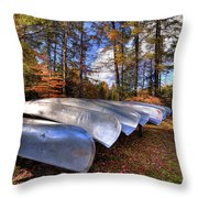 The Boats At Woodcraft Camp Throw Pillow
