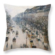 The Boulevard Montmartre On A Winter Morning, 1897  Throw Pillow