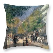The Boulevards  Throw Pillow by Pierre Auguste Renoir