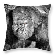 The Bouncer Gorilla Throw Pillow by David Millenheft