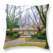 The Bow Bridge In Central Park New York City Throw Pillow