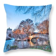 The Bow Bridge In Central Park Throw Pillow