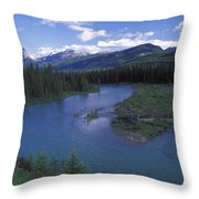The Bow River And Castle Mountain Throw Pillow