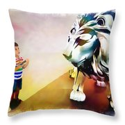 The Boy And The Lion 11 Throw Pillow