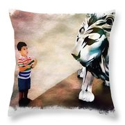 The Boy And The Lion 9 Throw Pillow