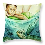 The Boy And The Turtle Throw Pillow
