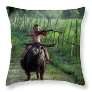 The Boy Playing The Red Violin In Thailand, Asia Throw Pillow