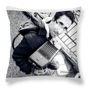 The Brave Accordion Player Throw Pillow