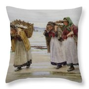 The Breadwinners Or Newlyn Fishwives Throw Pillow