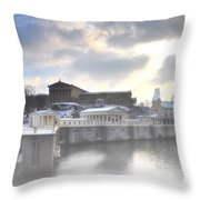 The Breaking Sun Over Philadelphia Throw Pillow by Bill Cannon
