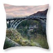The Bridge Across The Severn Gorge Throw Pillow