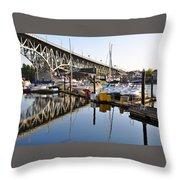 The Bridge And Marina Throw Pillow
