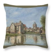 The Bridge And Mills Of Moret Sur Loing Throw Pillow