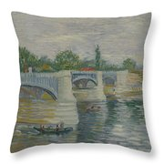 The Bridge At Courbevoie Paris, May - July 1887 Vincent Van Gogh 1853  1890 Throw Pillow