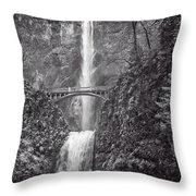 The Bridge At Multnomah Falls In Black And White Throw Pillow