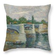 The Bridge Of Courbevoie, Paris Throw Pillow
