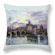 The Bridge Of Moret At Sunset Throw Pillow