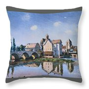 The Bridge Of Moret In The Sunlight Throw Pillow