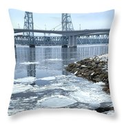 The Bridges Of Bath In Winter Throw Pillow