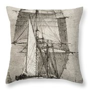 The Brig Hms Beagle From Journal Of Throw Pillow