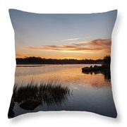 The Brink - Pawcatuck River Sunrise Throw Pillow