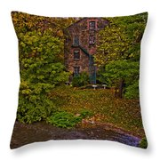 The Bronx River Stone Mill Throw Pillow