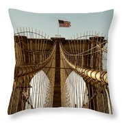 The Brooklyn Bridge Flag Throw Pillow