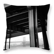 The Brooklyng Bridge And Manhattan Bridge From Fdr Drive Throw Pillow