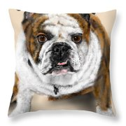 The Bull Dog Pup Throw Pillow