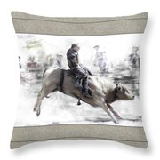 The Bull Rider Throw Pillow