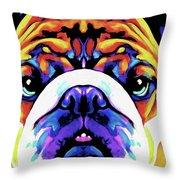 The Bulldog By Nixo Throw Pillow