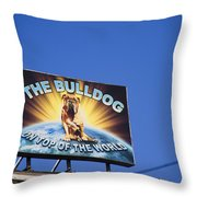 The Bulldog On Top Of The World Throw Pillow