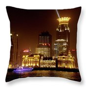 The Bund - Shanghai's Magnificent Historic Waterfront Throw Pillow by Christine Till