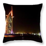 The Burj Al Arab At Night Throw Pillow