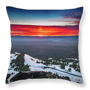 The Burning Clouds At Crater Lake Throw Pillow