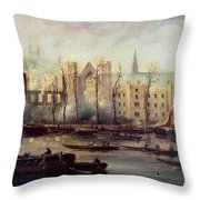 The Burning Of The Houses Of Parliament Throw Pillow by The Burning of the Houses of Parliament