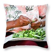 The Butterbean Lady Throw Pillow