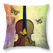 The Butterflies And The Violin Throw Pillow