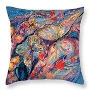 The Butterflies On Blue Throw Pillow