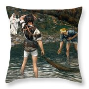 The Calling Of Saint Peter And Saint Andrew Throw Pillow by Tissot